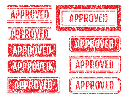 accepted: Approved Word Rubber Stamps Grunge Style With Dust Scratches Set