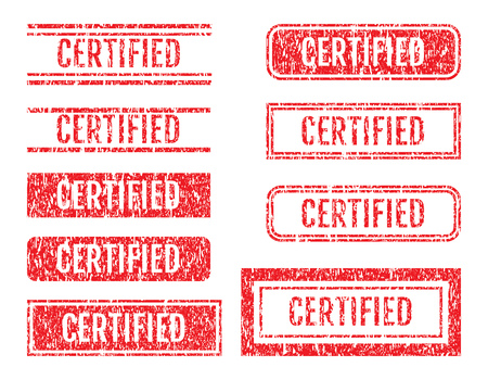 Certified Word Rubber Stamps Grunge Style With Dust Scratches Set