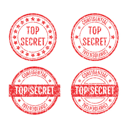 Top Secret Rubber Stamps Grunge Style With Dust Scratches Set