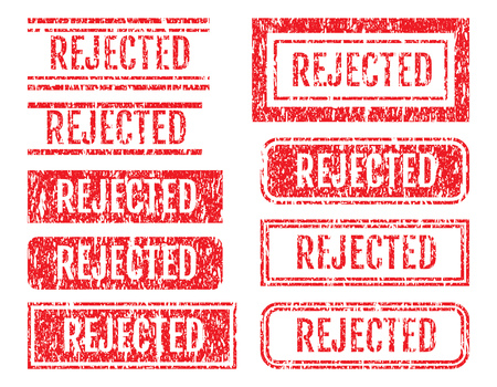 Rejected Word Rubber Stamps Grunge Style With Dust Scratches Set