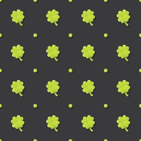 fourleaf: Clover Lucky Leaf Saint Patricks Day Seamless Pattern Illustration