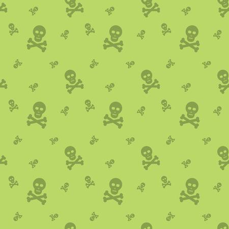 Skull And Bones Halloween Seamless Silhouette Pattern Background Illustration