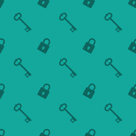 Key And Security Lock Seamless Decorative Pattern Silhouette Background