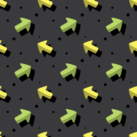 Arrow Navigation Symbol Cute Style Seamless Dark Background Pattern