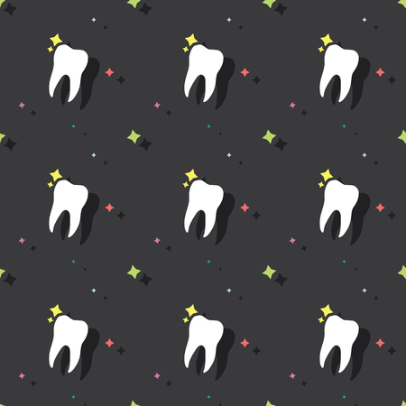 Dentist Molar Tooth Hygiene Seamless Colored Pattern Background