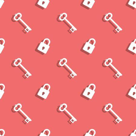 Key And Safe Lock Seamless Decorative Background Pattern Ilustração