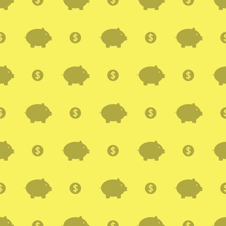 Piggy Bank And Dollar Coins Savings Seamless Silhouette Background Pattern