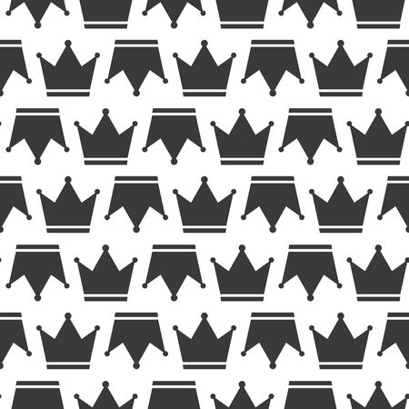 Crown Prince And Pincess Royal Symbol Silhouette Seamless Pattern Clear Background Ilustração