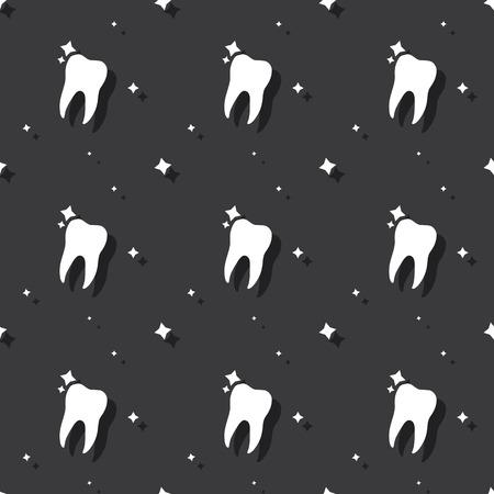 Dentist Molar Tooth Hygiene Seamless Pattern Dark Background