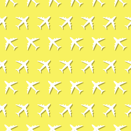 Airplane Commercial Aviation Seamless Symbol Pattern Background Illustration