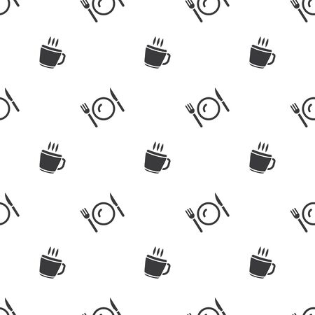 Meal Time Cup Of Hot Drink And Cutlery Seamless Silhouette Pattern Clear Background