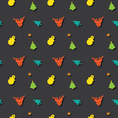 Christmas Holiday Decoration Symbols Seamless Colored Pattern Background
