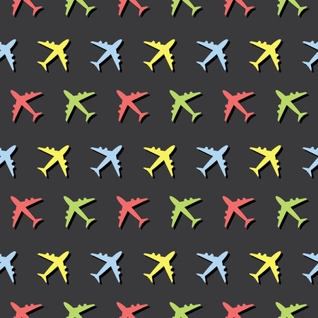 Airplane Commercial Aviation Traveling Seamless Colored Pattern Background