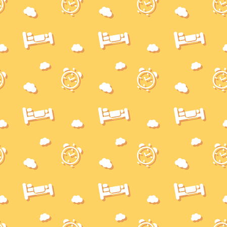 Bed For Sleeping With Alarm Clock And Clouds Pattern Background
