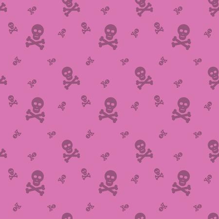 Skull And Bones Halloween Seamless Silhouette Decorative Pattern Background