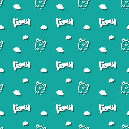 Bed For Sleeping With Alarm Clock And Clouds Seamless Background Pattern