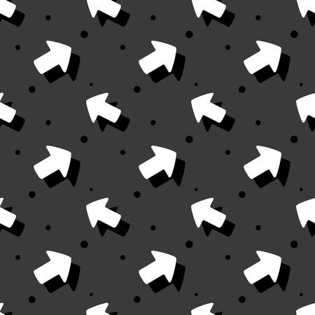 Arrow Navigation Symbol Cute Style Flat Seamless Dark Background Pattern