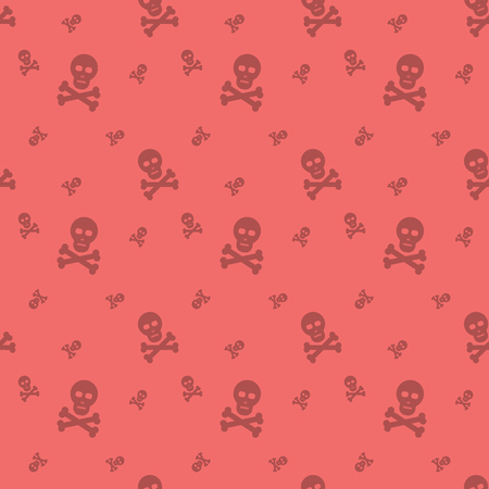 Skull And Bones Halloween Holiday Seamless Silhouette Pattern Background