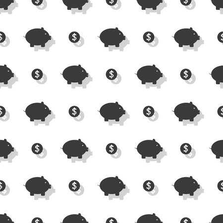 Piggy Bank And Dollar Coin Savings Seamless Clear Background Pattern Ilustração