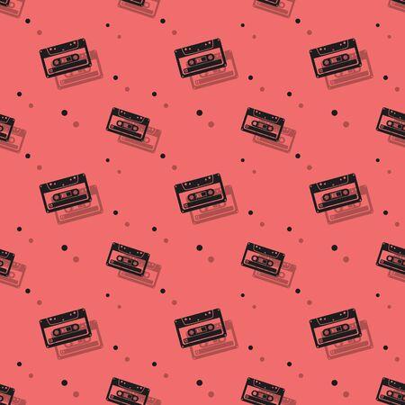 Audio Analogue Cassette Retro Seamless Shadow Pattern