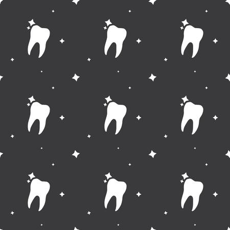 Dentist Molar Tooth Hygiene Seamless Silhouette Pattern Dark Background