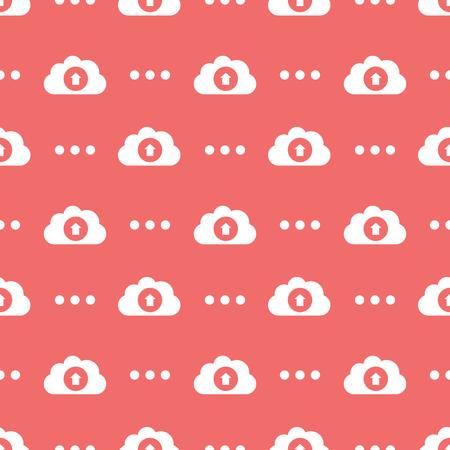 Cloud Service Information Upload Seamless Silhouette Background Pattern Ilustração