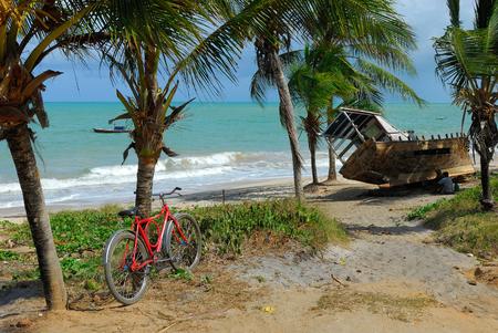Bike and boat in a tropical beach. Reklamní fotografie