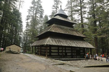 MANALI, HIMACHAL PRADESH, INDIA - July 01 2016 - Hidimbi Devi Temple locally known as Dhungiri Temple is located in Manali, Himachal Pradesh.