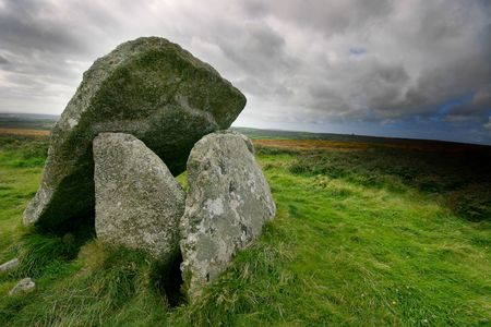 sited: Mulfra Quoit is a well preserved example of a megalithic tomb or dolmen, the Western part of Cornwall in the UK, where Mulfra is sited is dotted with ruined ancient settlements and tombs.