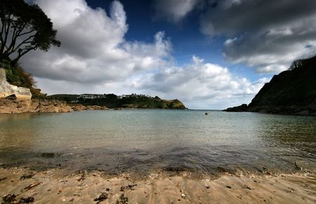 daphne: Readymoney beach near Fowey is directly below the house which was once the residence of Daphne du Maurier, the beach looks directly across the water to the village of Polruan.