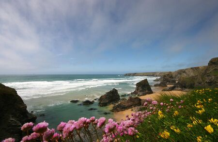 buttercups: Bedrutan Steps in Cornwall is a set of natural stone pillars, the tide around this area is notoriously dangerous