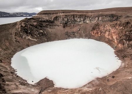 Viti volcanic crater lake in caldera of Askja volcano, Highlands of Iceland, Iceland, Europe Stok Fotoğraf