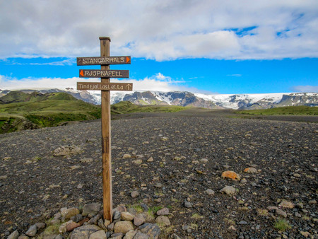 Laugavegur Hiking Trail Sign post, Iceland, Europe
