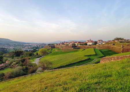 Fortaleza of Valenca with defensive walls of the fortress in the village of Valenca do Minho in Portugal