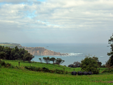 View on Cadavedo and Cantabrian sea coastline, Asturias, Camino del Norte, the Coastal way of Saint James, pilgrimage route along the Northern coast of Spain Reklamní fotografie