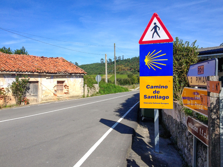 Road sign on Camino del Norte, along the coastal Camino de Santiago, Northern St. James Way