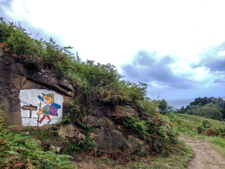 Zarautz, Basque Country, Spain – September, 2018: Graphiti on the Camino de Santiago de Compostela, Camino del Norte or the Northern Way, route along the Northern coast of Spain