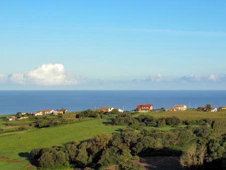 Typical Cantabrian sea coastline landscape, , Cantabria, Camino del Norte, the Coastal way of Saint James, pilgrimage route along the Northern coast of Spain Stockfoto