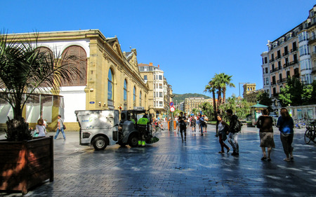 San Sebastian, Basque Country, Spain – September, 2018: San Sebastian main square on a sunny day along the Northern coast of Spain