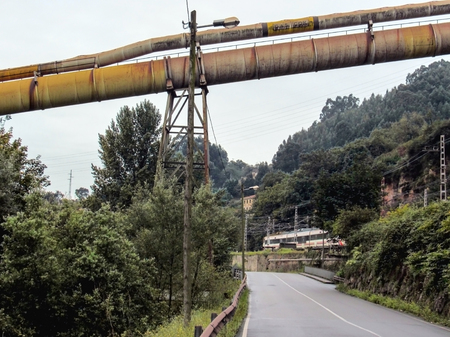 Industrial area of Gijon, Asturias Camino del Norte, the Northern Way of Saint James in Spain