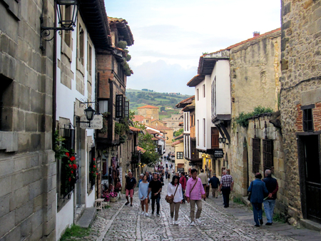 Streets of Santillana del mar, popular tourist destination in Northern Spain