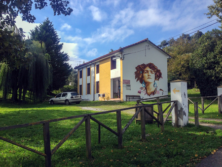 Serdio, Cantabria, Spain - September, 2018: Municipal Albergue, Hostel for pilgrims on Major Christian pilgrimage route Camino de Santiago, the Way of Saint James, along the Northern coast of Spain