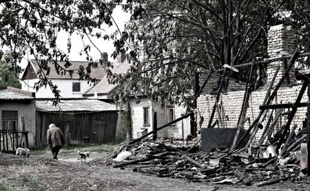Poor woman with two dogs walking near a burnt house Stock Photo - 3097293