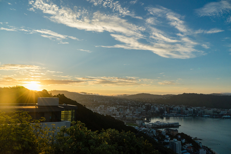The sunsets over New Zealands capital city Wellington.