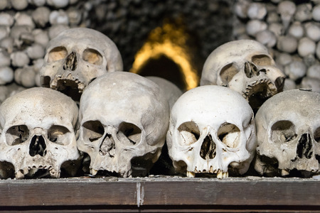 Some of the 40,000 skeletons interred at the Sedlec Ossuary in Kutna Hora, Czech Republic Stock Photo