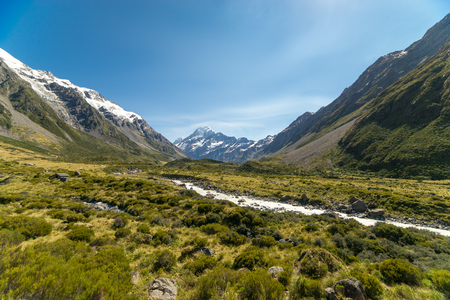 A glacier fed creek cuts through a green valley high in the mountains. Stock Photo