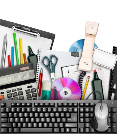 office equipment: Set of office stationery with keyboard and mouse on top. Isolated on white Stock Photo