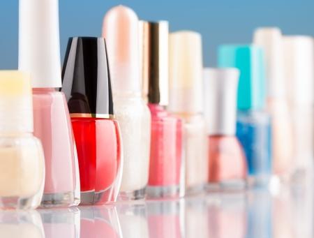 applicator: Colorful nail polish in a row