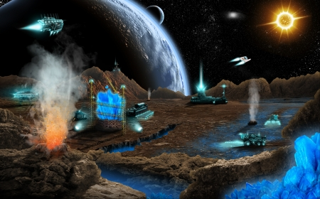 mining ship: Mineral mining on far planet