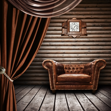 antique chair: Interior of vintage wooden room Stock Photo